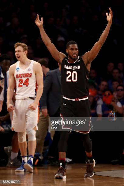 Justin McKie of the South Carolina Gamecocks reacts against Florida Gators during the 2017 NCAA Men's Basketball Tournament East Regional at Madison...