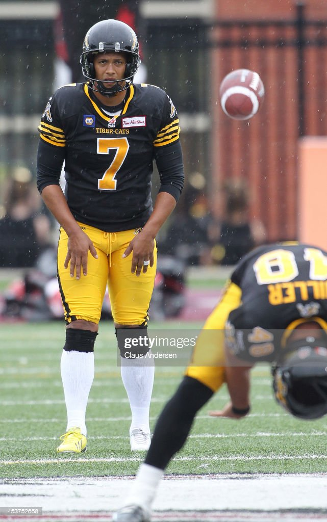 Justin Medlock of the Hamilton TigerCats warms up prior to play against the Calgary Stampeders in a CFL game at Ron Joyce Stadium on August 16 2014...