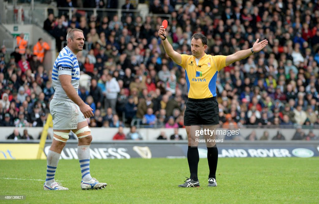 Justin Melck of Saracens is sent off during the Aviva Premiership match between Leicester Tigers and Saracens at Welford Road on May 10, 2014 in Leicester, England.