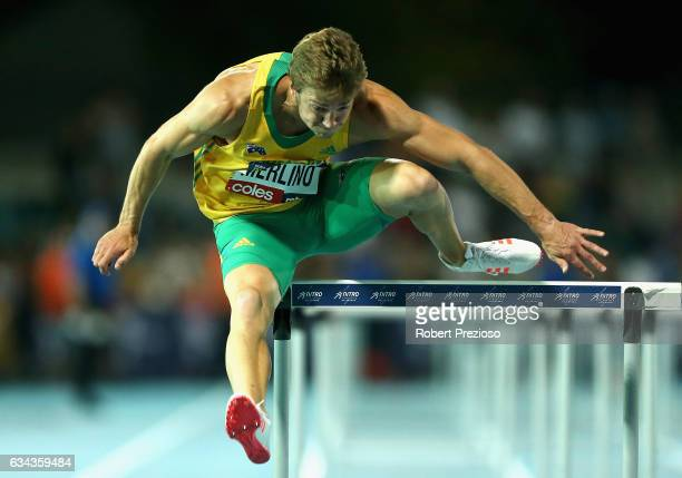 Justin Merlino of Australia competes in men 110 metre hurdles during the 2017 Nitro Athletics Series at Lakeside Stadium on February 9 2017 in...