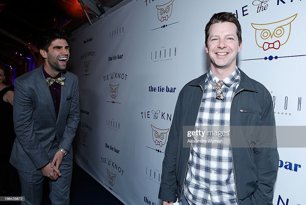 Justin Mikita and <a gi-track='captionPersonalityLinkClicked' href=/galleries/search?phrase=Sean+Hayes&family=editorial&specificpeople=204240 ng-click='$event.stopPropagation()'>Sean Hayes</a> at the launch of Tie The Knot, a charity benefitting marriage equality through the sale of limited edition bowties available online at TheTieBar.com/JTF held at The London West Hollywood on November 14, 2012 in West Hollywood, California.