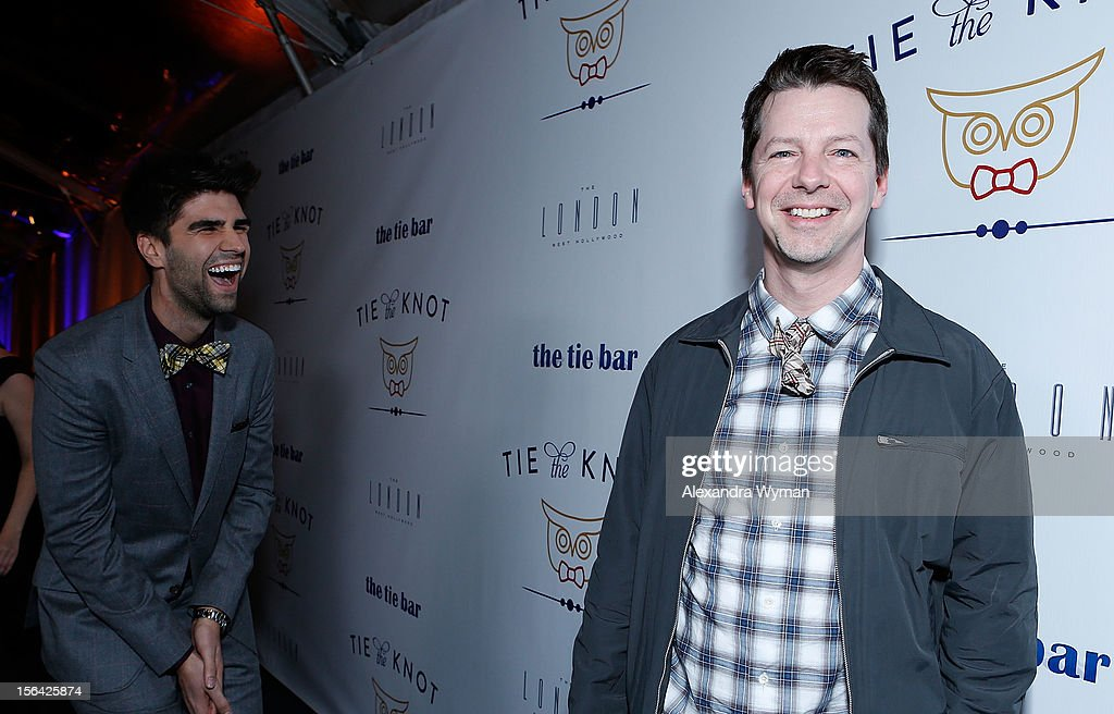 Justin Mikita and Sean Hayes at the launch of Tie The Knot, a charity benefitting marriage equality through the sale of limited edition bowties available online at TheTieBar.com/JTF held at The London West Hollywood on November 14, 2012 in West Hollywood, California.