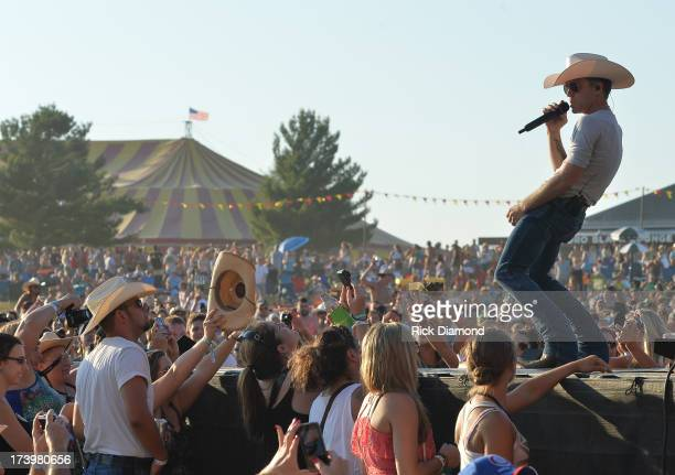 Justin Moore performs at Country Thunder Twin Lakes Wisconsin Day 1 on July 18 2013 in Twin Lakes Wisconsin