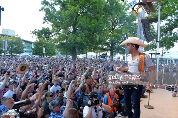 Justin Moore performs at the Brickyard 400 Presented By Big Machine Label Group at Indianapolis Motorspeedway on July 27 2013 in Indianapolis Indiana