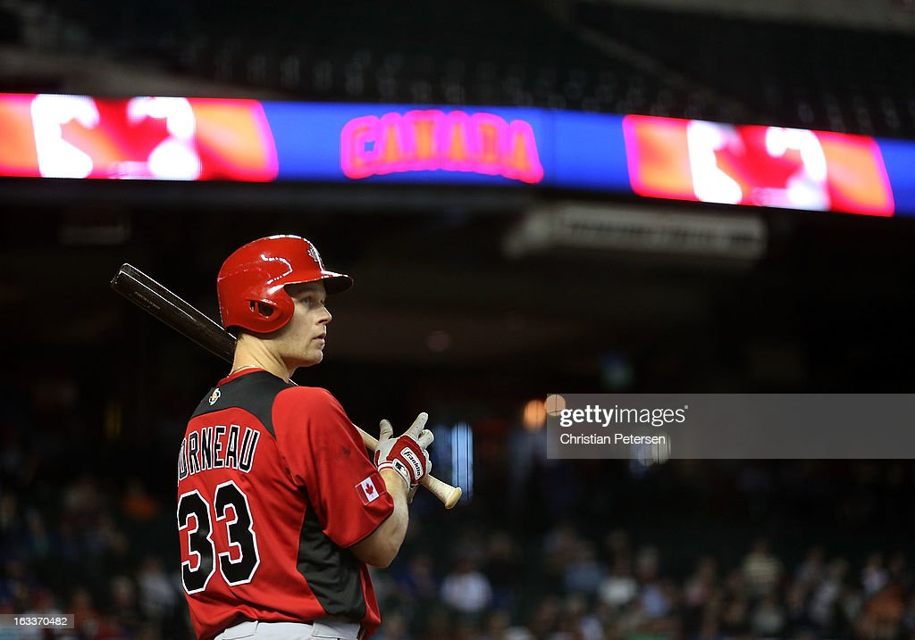 Justin Morneau #33 of Canada waits on deck during the World Baseball Classic First Round Group D game against Italy at Chase Field on March 8, 2013 in Phoenix, Arizona.