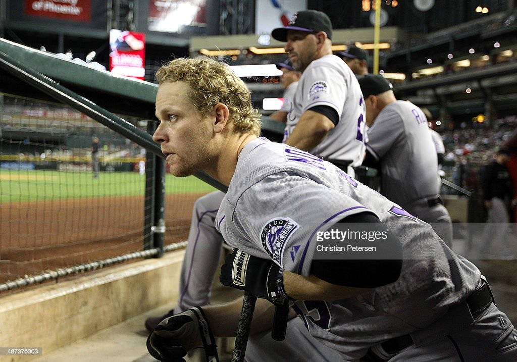 <a gi-track='captionPersonalityLinkClicked' href=/galleries/search?phrase=Justin+Morneau&family=editorial&specificpeople=211556 ng-click='$event.stopPropagation()'>Justin Morneau</a> #33 of the Colorado Rockies watches from the dugout during the MLB game against the Arizona Diamondbacks at Chase Field on April 29, 2014 in Phoenix, Arizona.
