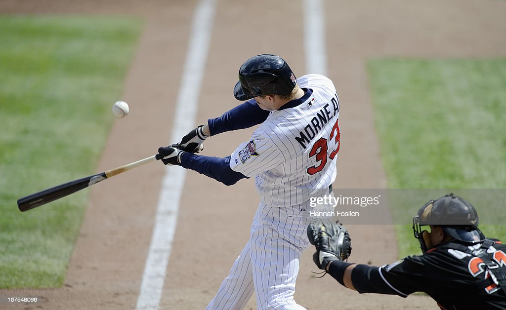 Justin Morneau #33 of the Minnesota Twins bats as <a gi-track='captionPersonalityLinkClicked' href=/galleries/search?phrase=Miguel+Olivo&family=editorial&specificpeople=209185 ng-click='$event.stopPropagation()'>Miguel Olivo</a> #21 of the Miami Marlins catches during the first game of a doubleheader on April 23, 2013 at Target Field in Minneapolis, Minnesota.