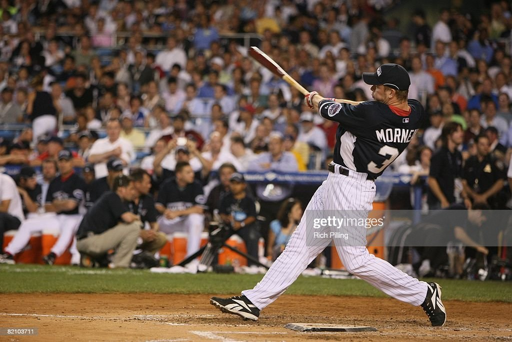 Justin Morneau #33 of the Minnesota Twins hits during the State Farm Home Run Derby at the Yankee Stadium in the Bronx, New York on July 14, 2008.