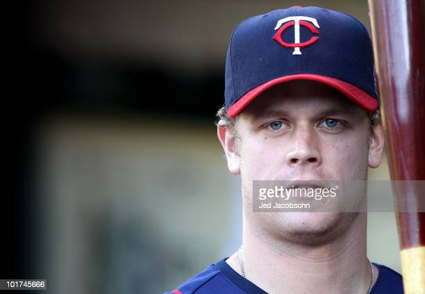 Justin Morneau of the Minnesota Twins looks on against the Oakland Athletics during an MLB game at the OaklandAlameda County Coliseum on June 4 2010...
