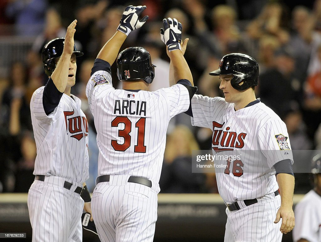 Justin Morneau #33, Oswaldo Arcia #31 and Josh Willingham #16 of the Minnesota Twins celebrate a three run home run by Arcia during the ninth inning of the game against the Texas Rangers on April 26, 2013 at Target Field in Minneapolis, Minnesota. The Rangers defeated the Twins 4-3.
