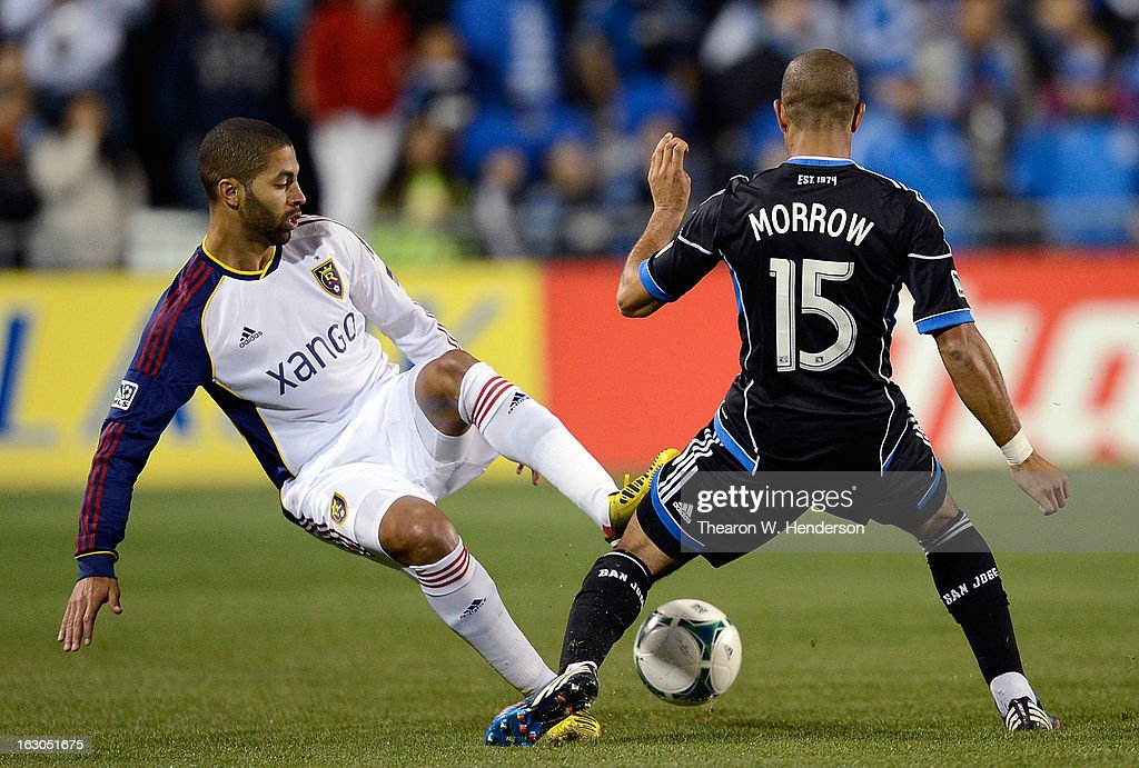 Justin Morrow #15 of the San Jose Earthquakes battles for control of the ball with <a gi-track='captionPersonalityLinkClicked' href=/galleries/search?phrase=Alvaro+Saborio&family=editorial&specificpeople=554699 ng-click='$event.stopPropagation()'>Alvaro Saborio</a> #15 of Real Salt Lake during their MLS Soccer game at Buck Shaw Stadium on March 3, 2013 in Santa Clara, California.