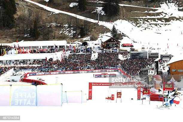 Justin Murisier of Switzerland competes during the Audi FIS Alpine Ski World Cup Finals Nations Team Event on March 20 2015 in Meribel France