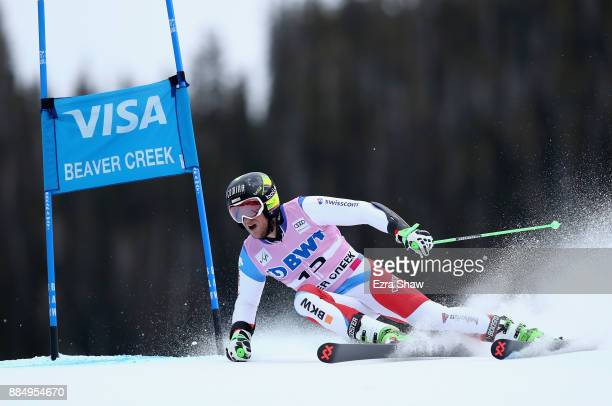 Justin Murisier of Switzerland competes in the second run of the Birds of Prey World Cup Giant Slalom race on December 3 2017 in Beaver Creek Colorado