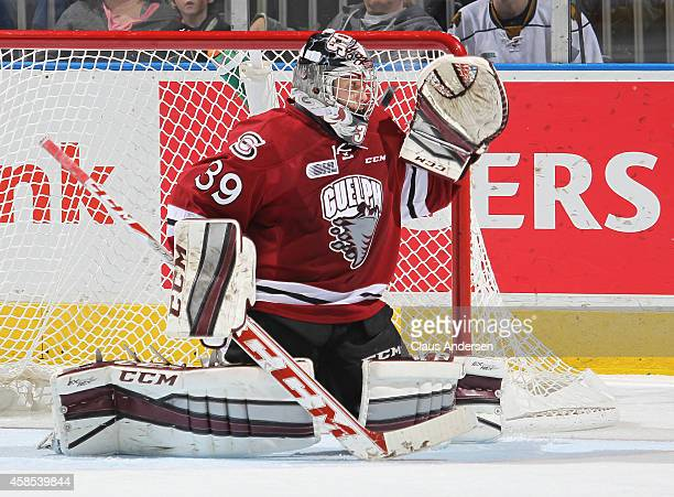 Justin Nichols of the Guelph Storm watches a blast by Michael McCarron of the London Knights get by him in an OHL game at Budweiser Gardens on...
