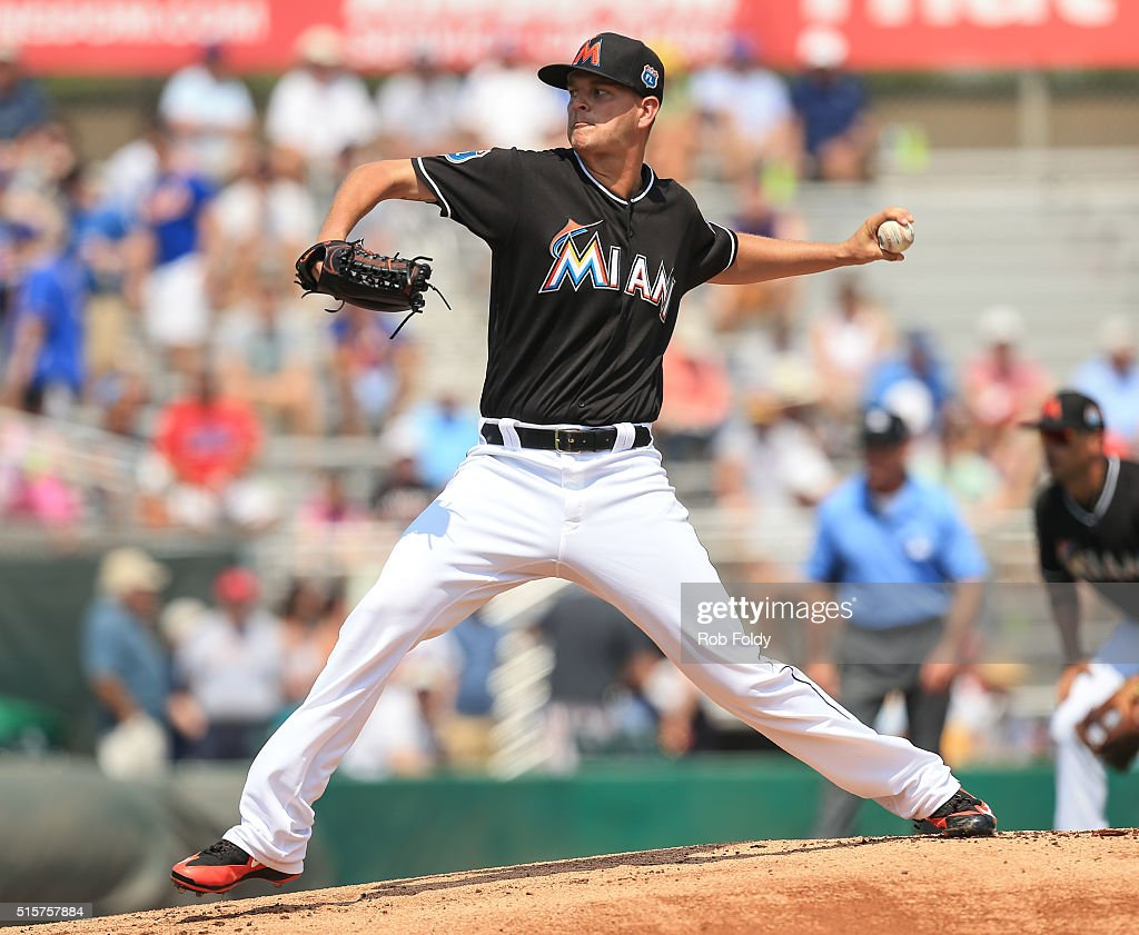 Justin Nicolino #20 of the Miami Marlins delivers the first pitch of the spring training game against the New York Mets on March 15, 2016 in Jupiter, Florida.