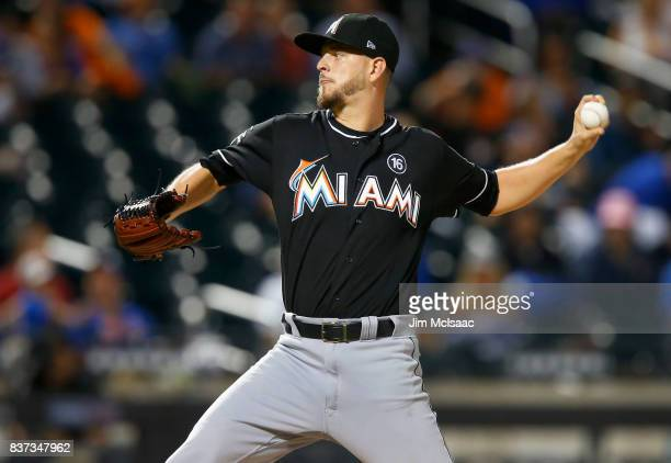 Justin Nicolino of the Miami Marlins in action against the New York Mets at Citi Field on August 18 2017 in the Flushing neighborhood of the Queens...