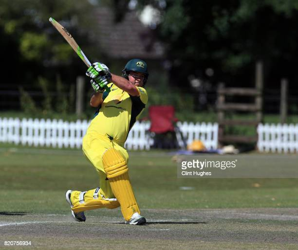 Justin Nilon of Australia bats during the T20 INAS TriSeries against England at Toft Cricket Club on July 18 2017 in Knutsford England