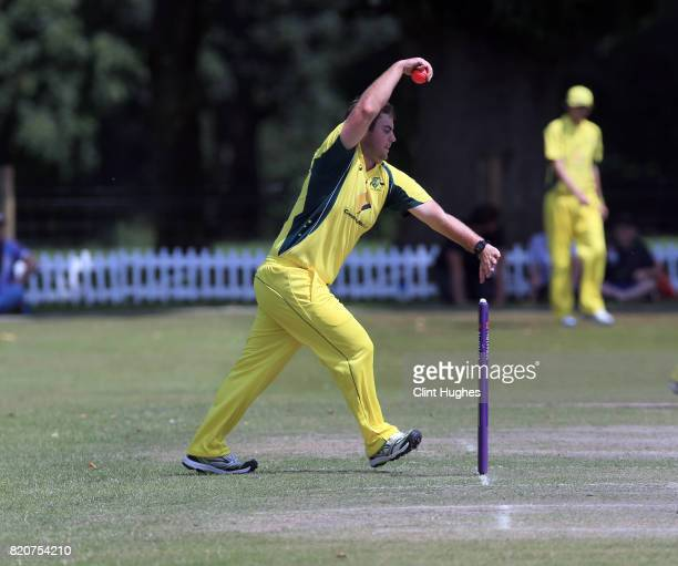 Justin Nilon of Australia bowls during the T20 INAS TriSeries against England at Toft Cricket Club on July 18 2017 in Knutsford England
