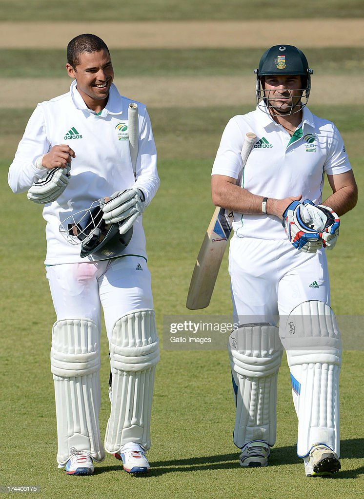 Justin Ontong and Dean Elgar of South Africa A during day 2 of the 1st Test match between South Africa A and Australia A at Tuks Oval on July 25, 2013 in Pretoria, South Africa.