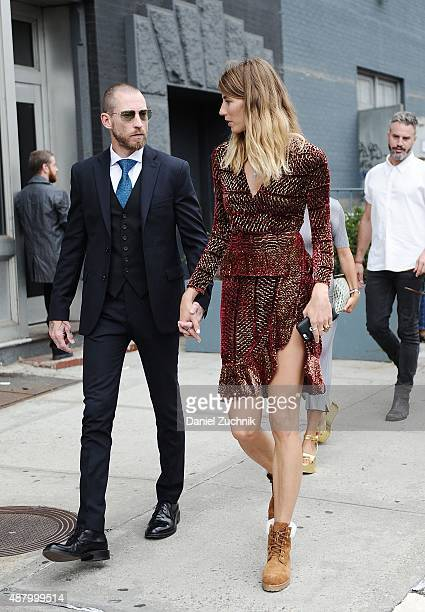 Justin O'Shea and Veronika Heilbrunner are seen outside the Altuzarra show during New York Fashion Week 2016 on September 12 2015 in New York City