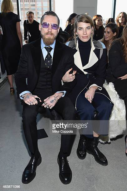 Justin O'Shea and Veronika Heilbrunner attend the Calvin Klein Collection fashion show during MercedesBenz Fashion Week Fall 2015 at Spring Studios...