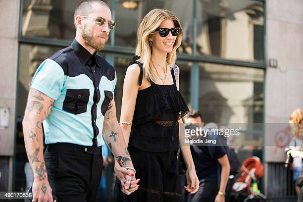 Justin O'Shea and Veronika Heilbrunner during the Milan Fashion Week Spring/Summer 16 on September 26 2015 in Milan Italy Justin wears a teal and...