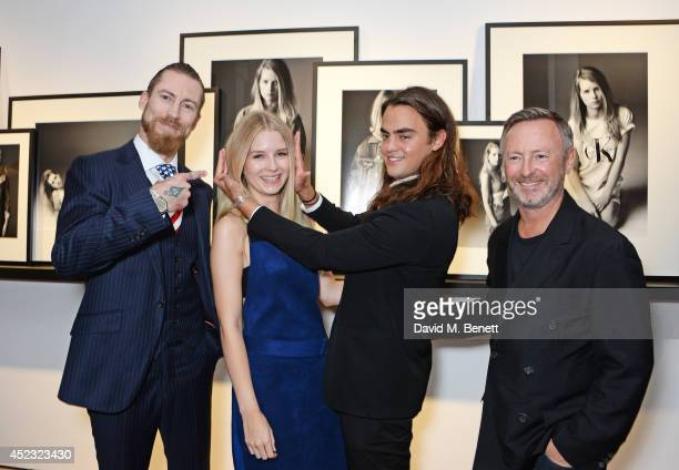 Justin O'Shea Buying Director of Mytheresacom Lottie Moss Michael Avedon and Kevin Carrigan Global Creative Director of Calvin Klein Jeans attend the...
