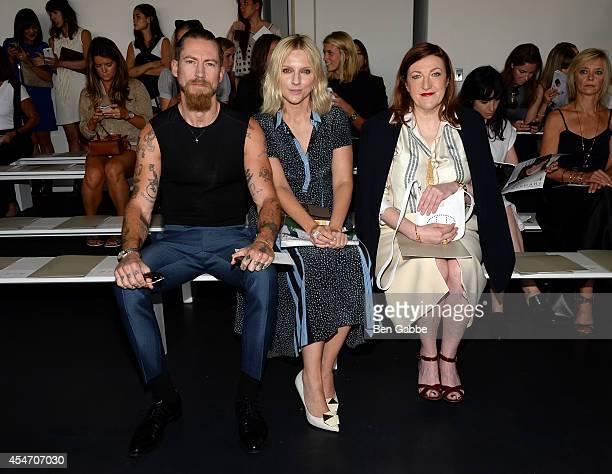 Justin O'Shea Laura Brown and Glenda Bailey attend the Jason Wu fashion show during MercedesBenz Fashion Week Spring 2015 at Spring Studios on...