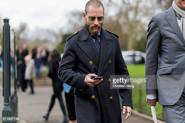 Justin O'Shea seen outside Burberry during London Fashion Week Autumn/Winter 2016/17 on February 22 2016 in London England United Kingdom