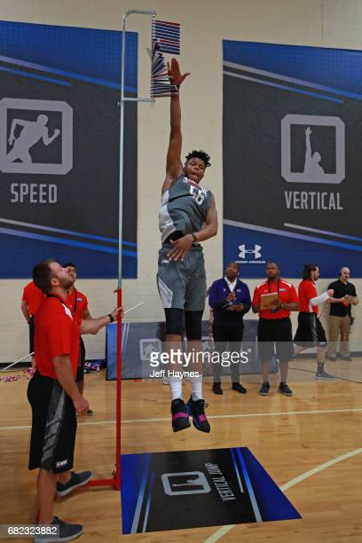 Justin Patton participates in the vertical jump during the NBA Draft Combine at the Quest Multisport Center on May 11 2017 in Chicago Illinois NOTE...