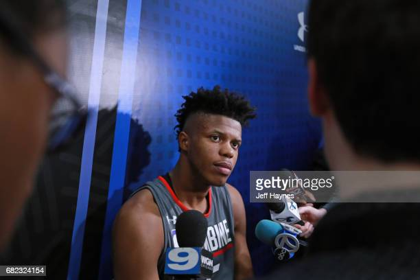 Justin Patton talks to the media during the NBA Draft Combine at the Quest Multisport Center on May 11 2017 in Chicago Illinois NOTE TO USER User...