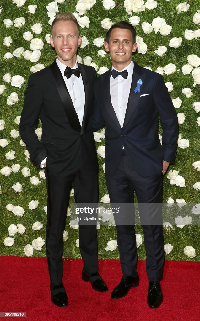Justin Paul (L) and Benj Pasek attend the 71st Annual Tony Awards at Radio City Music Hall on June 11, 2017 in New York City.