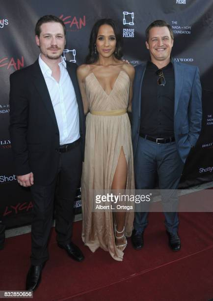 "Justin Pelsey Dania Ramirez and Jason Pelsey arrive for the Premiere Of Parade Deck's ""Lycan"" held at Laemmle's Ahrya Fine Arts Theatre on August 15..."