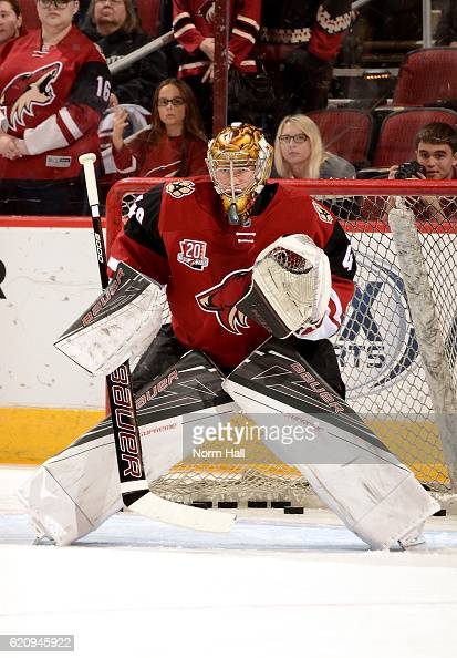 Justin Peters of the Arizona Coyotes prepares for a game against the San Jose Sharks at Gila River Arena on November 1 2016 in Glendale Arizona