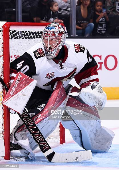 Justin Peters of the Arizona Coyotes tends net during a preseason game against the Los Angeles Kings on September 26 2016 at Staples Center in Los...
