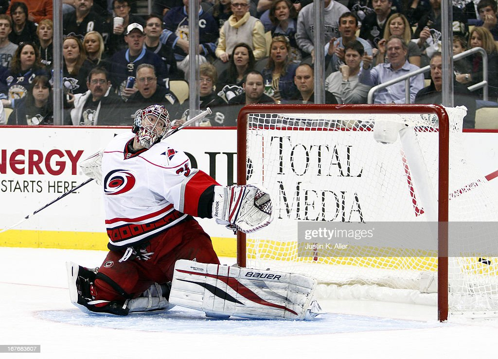 Justin Peters #35 of the Carolina Hurricanes can't stop the puck on <a gi-track='captionPersonalityLinkClicked' href=/galleries/search?phrase=James+Neal&family=editorial&specificpeople=1487991 ng-click='$event.stopPropagation()'>James Neal</a> #18 of the Pittsburgh Penguins (not pictured) hat trick goal in the third period during the game at Consol Energy Center on April 27, 2013 in Pittsburgh, Pennsylvania. The Penguins defeated the Hurricanes 8-3.
