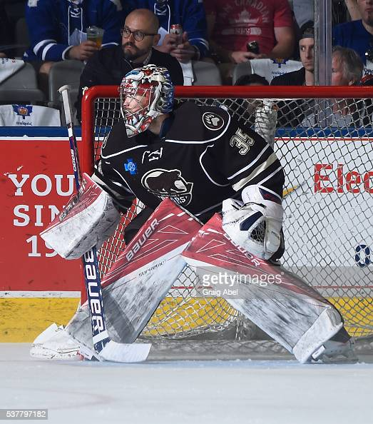 Justin Peters of the Hershey Bears prepares for a shot against the Toronto Marlies during AHL Eastern Conference Final playoff game action on May 29...