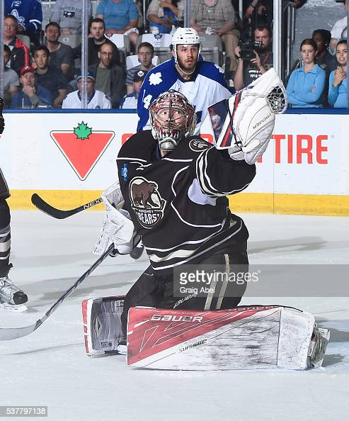 Justin Peters of the Hershey Bears snags a shot against the Toronto Marlies during AHL Eastern Conference Final playoff game action on May 29 2016 at...