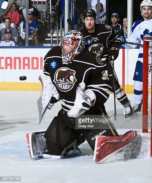 Justin Peters of the Hershey Bears stops a shot against the Toronto Marlies during AHL Eastern Conference Final playoff game action on May 29 2016 at...