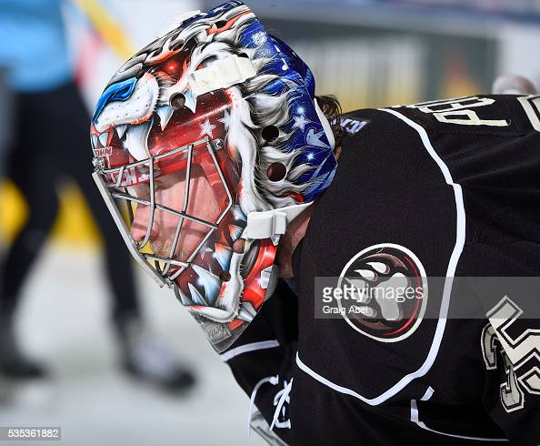 Justin Peters of the Hershey Bears takes a break against the Toronto Marlies during AHL Eastern Conference Final playoff game action on May 25 2016...