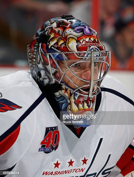 Justin Peters of the Washington Capitals braces for a shot during the game against the Philadelphia Flyers at Wells Fargo Center on September 22 2014...