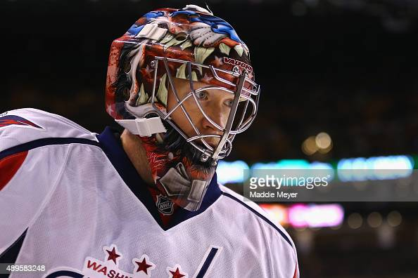 Justin Peters of the Washington Capitals looks on during the first period against the Boston Bruins at TD Garden on September 22 2015 in Boston...