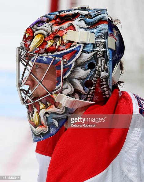 Justin Peters of the Washington Capitals looks on during the game against the Anaheim Ducks on February 15 2015 at Honda Center in Anaheim California