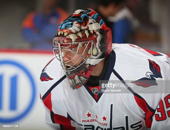 Justin Peters of the Washington Capitals skates against the Washington Capitals at the Barclays Center on September 28 2015 in Brooklyn borough of...