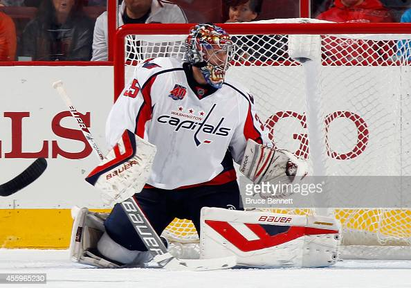 Justin Peters of the Washington Capitals tends net against the Philadelphia Flyers at the Wells Fargo Center on September 22 2014 in Philadelphia...
