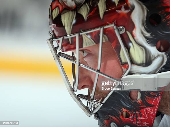 Justin Peters of the Washington Capitals waits for play to begin during the second period against the New York Islanders at the Barclays Center on...