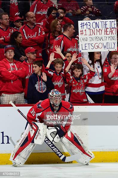 Justin Peters of the Washington Capitals warms up prior to playing against the New York Islanders in Game Two of the Eastern Conference Quarterfinals...