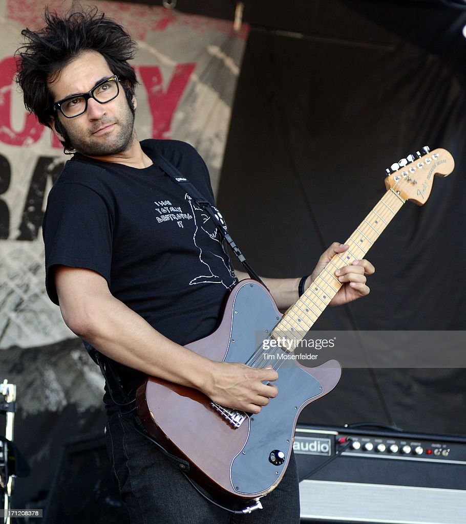 Justin Pierre of Motion City Soundtrack performs as part of the Vans Warped Tour at Shoreline Amphitheatre on June 22, 2013 in Mountain View, California.