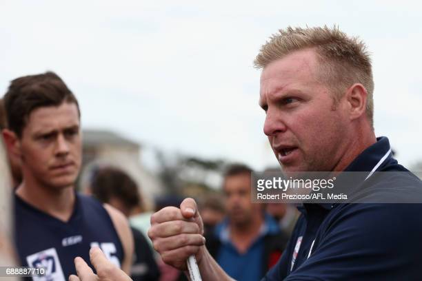 Justin Plapp coach of VFL speaks during the match between VFL and WAFL at North Port Oval on May 27 2017 in Melbourne Australia