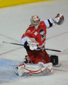 Justin Pogge of the Charlotte Checkers makes a save in a game against the Worcester Sharks at the DCU Center on November 27 2010 in Worcester...